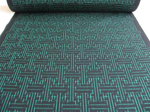 Kimono fabric - Silk - Tsumugi - Black and green
