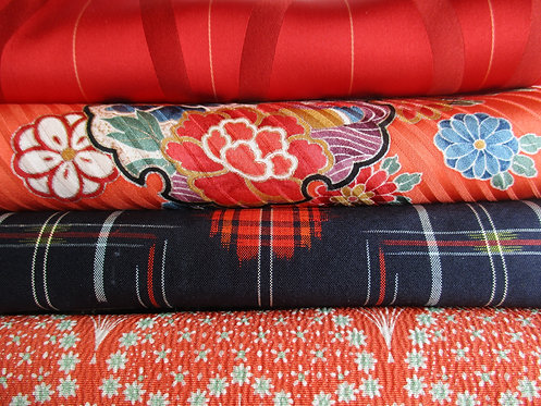 Kimono fabric sample pack - 4 designs - Red, orange, blue and green