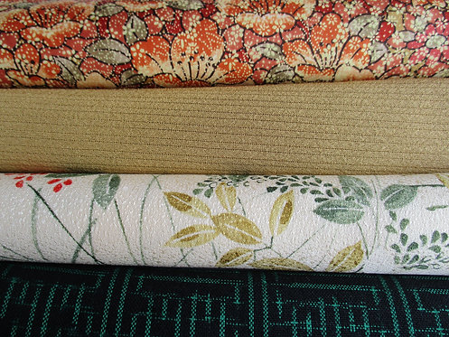 Kimono fabric sample pack - 4 designs - Brown, cream, red, beige and green.