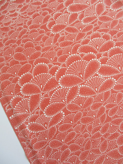 Kimono fabric - Upcycle - Silk - Fan flower - Peach and white