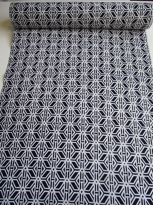 Yukata fabric - Cotton - Geometric - Indigo and white