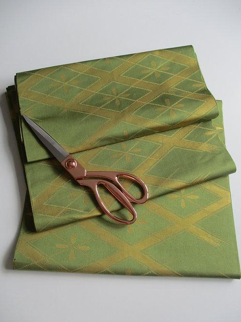 Obi fabric - Fukuro Obi - Silk - Upcycle - Green and gold - Used