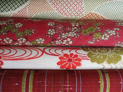 Kimono fabric sample pack - 4 designs - Red, cream, green and yellow.