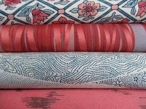 Kimono fabric sample pack - 4 designs - Salmon pink, blue and cream white