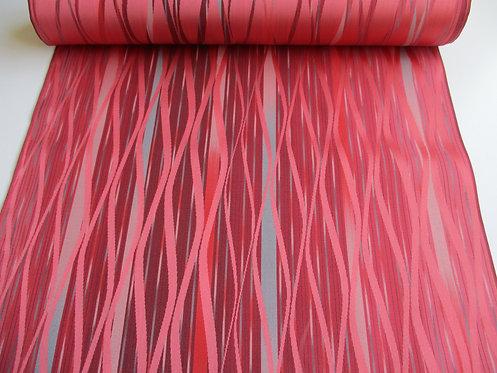 Kimono raincoat fabric - Tatewaku pattern - Silk - Pink, grey and black