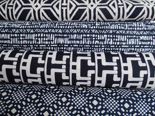 Yukata fabric sample pack - Cotton - 4 designs - Blue and white