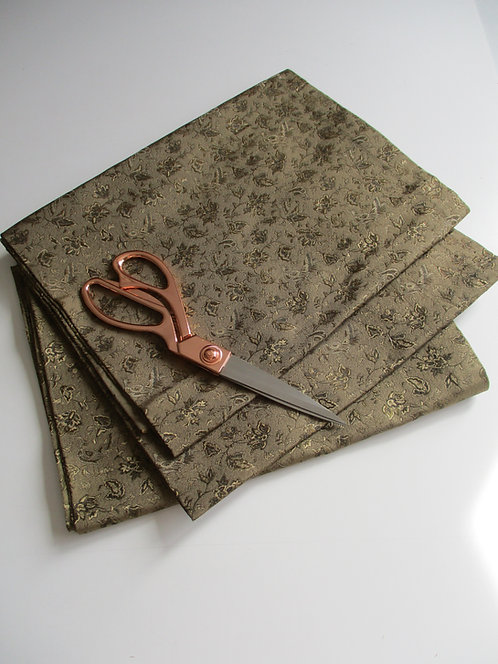 Obi fabric - Maru Obi - Silk - Upcycle - Khaki, brown and black - Used