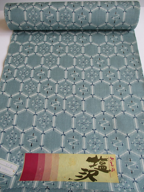 Kimono fabric - Wool - Kikko- Teal, blue and white