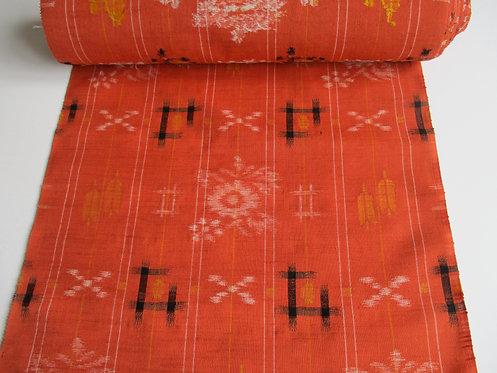 Kimono fabric - Wool - Floral grid - Orange, yellow, black and white