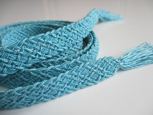 Obijime - Belt - Japanese accessories - 160 x 1.5 cm -Turquoise - Used