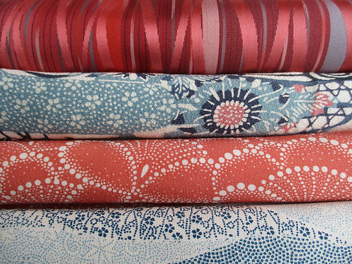 Kimono fabric sample pack - 4 designs - Blue, coral, pink and creamy white