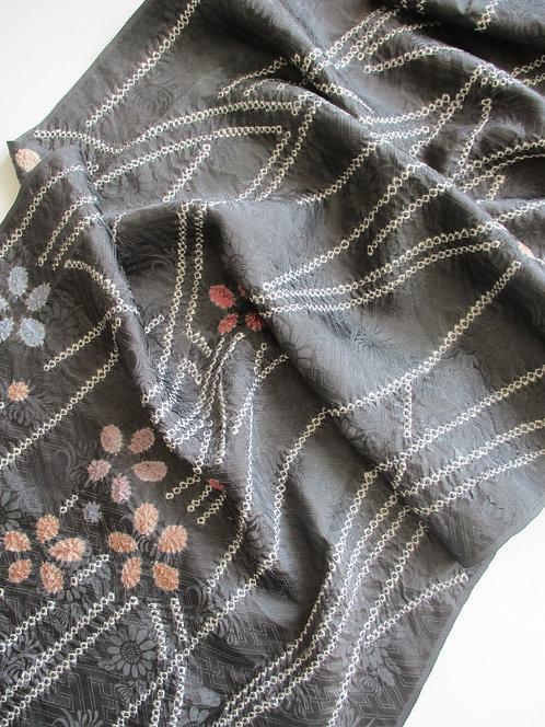 Kimono fabric - Upcycle - Silk - Shibori - Floral -Grey, white, pink and blue