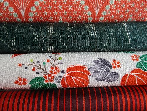 Kimono fabric sample pack - 4 designs - Orange, green, white, red and black