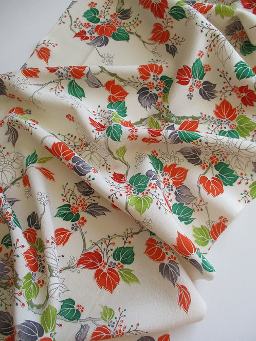 Kimono fabric - Upcycle - Silk - Paulownias Tree - White, orange, green and grey
