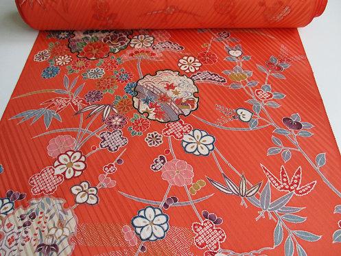 Kimono fabric - Silk - Kyo-Yuzen - Orange multi