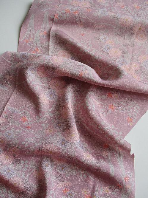 Kimono fabric - Upcycle - Silk - Floral - Lavender, purple, pink, white, coral