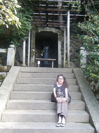 Jasuin - Jayne visiting small temple in Kyoto Japan.