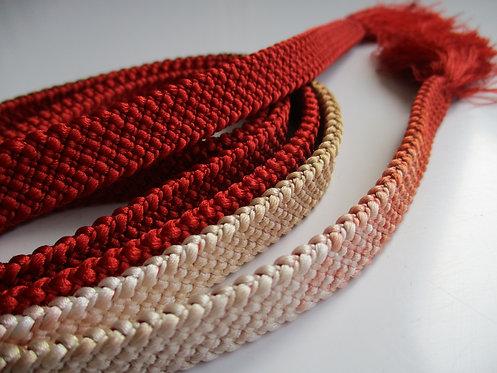 Obijime - Belt - Japanese accessories - 161 x 1.3 cm - Orange, brown and cream