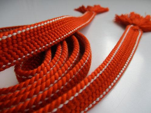 Obijime - Belt - Japanese accessories - 159 x 1.5 cm - Orange and white - Used