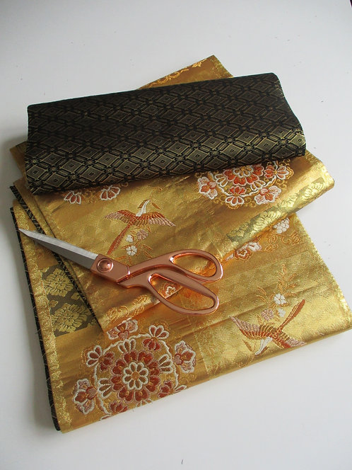 Obi fabric - Fukuro Obi - Silk/Metallic - Upcycle - Gold and black - Used
