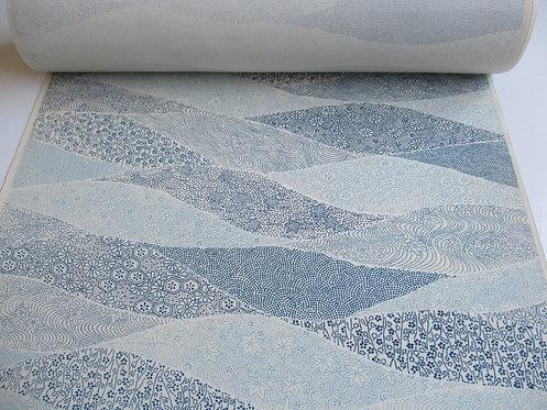 Kimono fabric - Silk - Yosegara pattern - Blue and off white