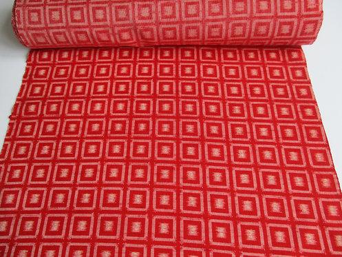Kimono fabric - Wool - Squares - Red, white, cream