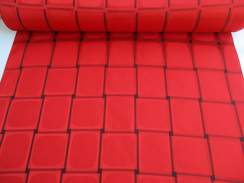 Kimono raincoat fabric - Squares pattern - Silk - Red and black