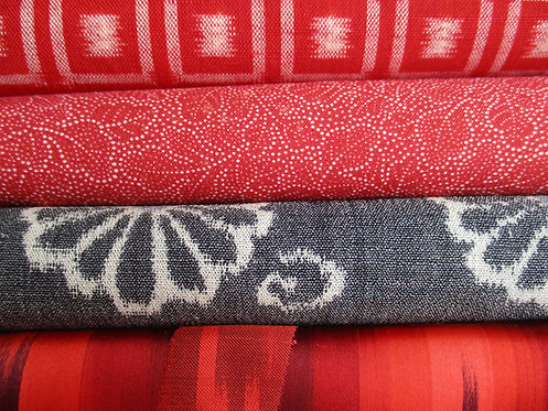 Kimono fabric sample pack - 4 designs - Red, grey and black