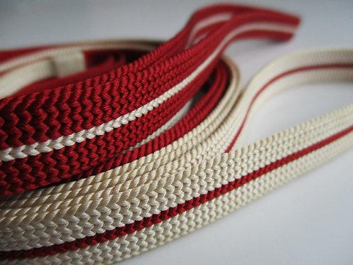 Obijime - Belt - Japanese accessories - 145 x 1.3 cm - Red, cream - Used