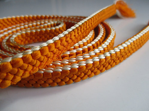 Obijime - Belt - Japanese accessories - 157 x 1.1 cm - Orange and cream - Used