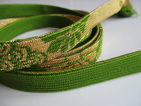 Obijime - Belt - Japanese accessories - 165 x 1.7cm - Green and Gold - Used