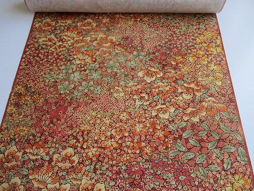 Kimono fabric - Tsumugi - Silk - Floral - Autumn shades