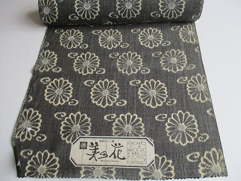 Kimono fabric - Wool - Floral - Grey and cream