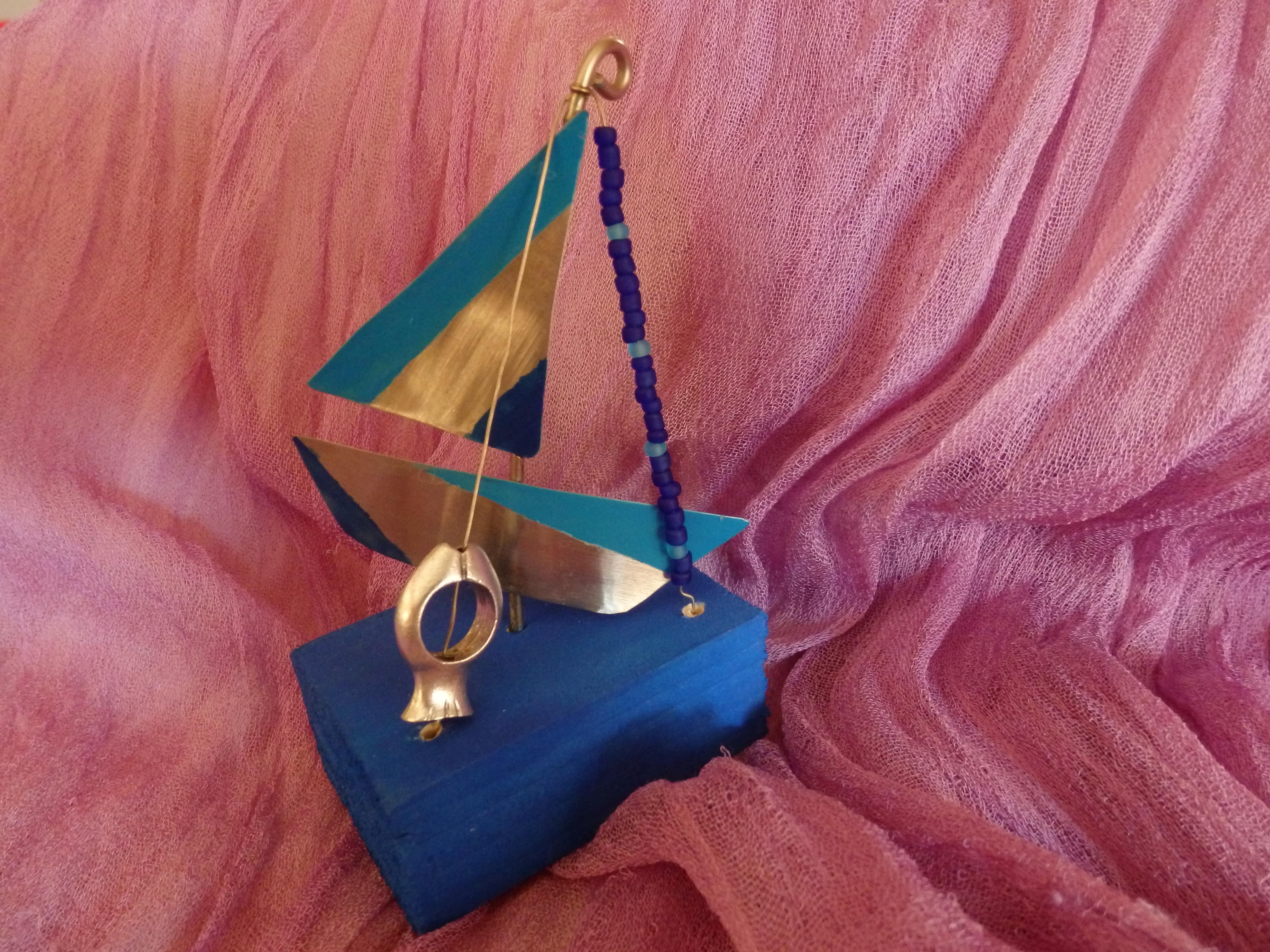 Handmade boat ornament