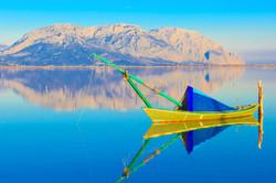 Boat in the lake of Messolongi