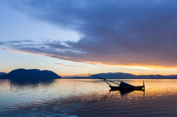 Messologhi lagoon at dusk