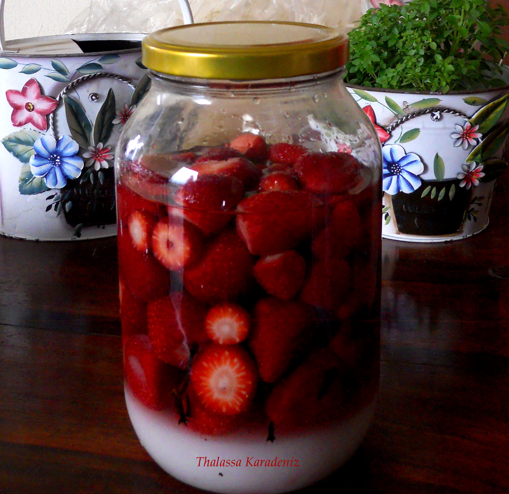 Homemade liquer with strawberries
