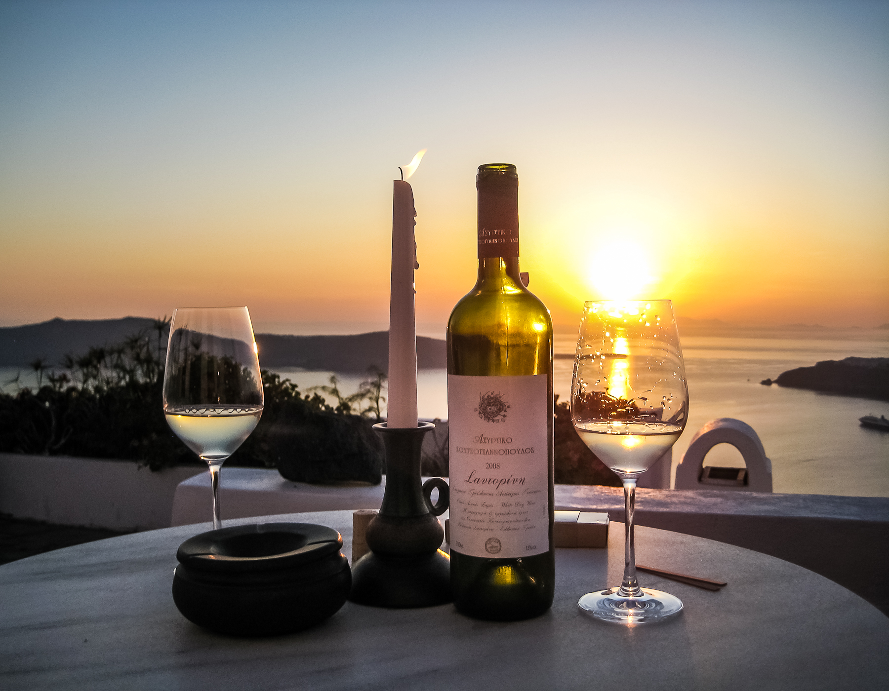 Sunset on greek wine