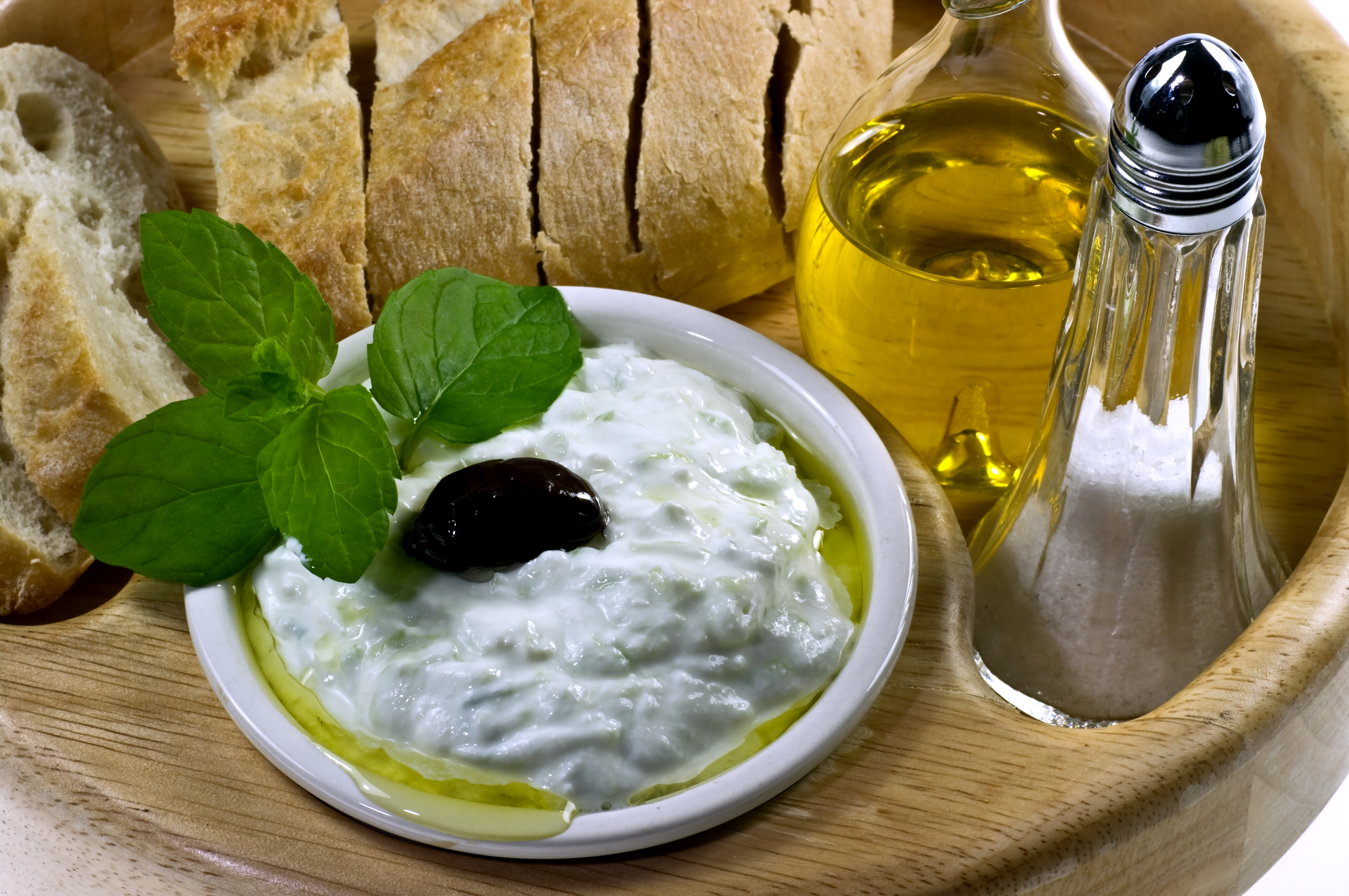 Tzatziki and olive oil