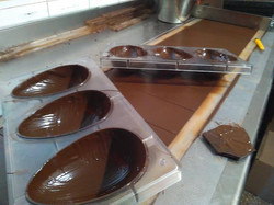 Working on the chocolate creations