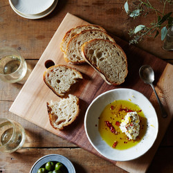 Olive oil and bread meze