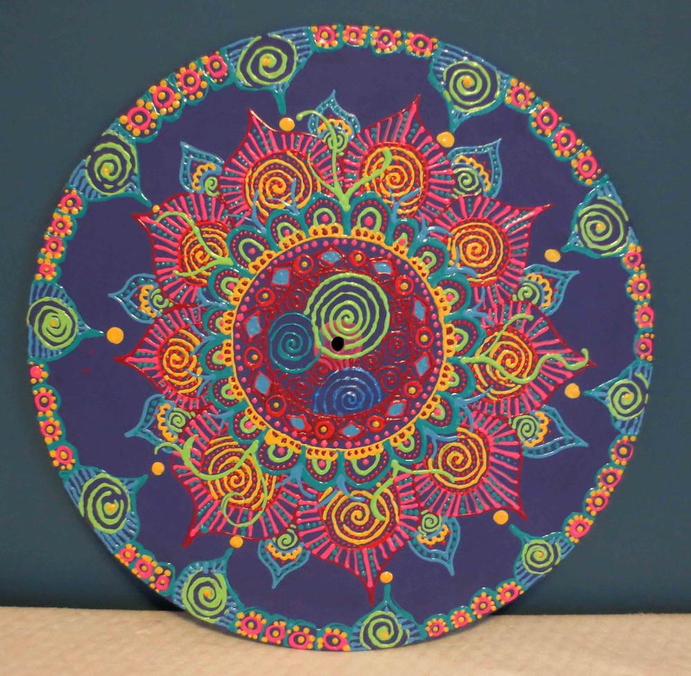 Mandala on Vinyl. Mixed Media by Grace Rhyne