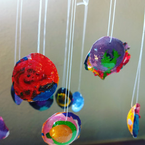 Pendants from acrylic paint peels