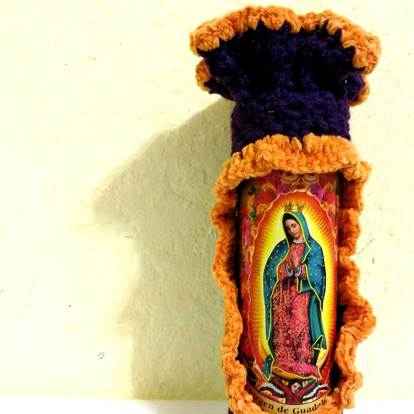 Virgencita Vase (Reclaimed Glass Candle, Yarn)