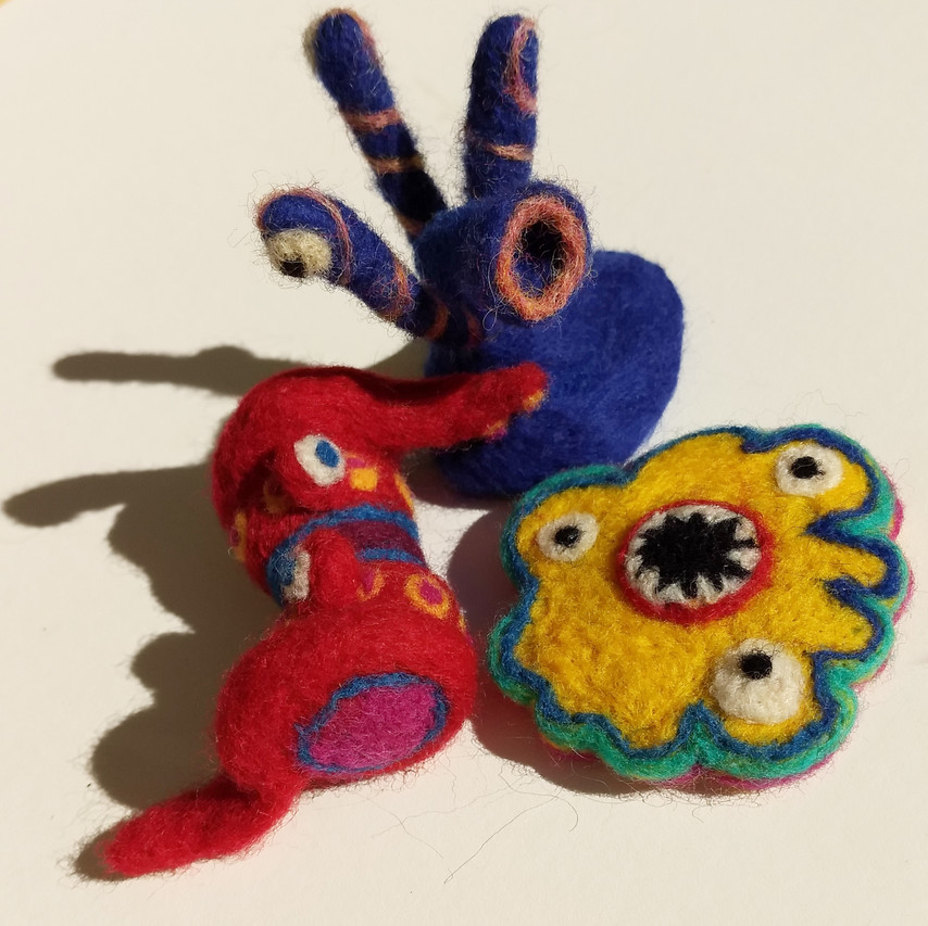 Felted Creatures by Zoe Rhyne (Needle Felted 100% Raw Merino Wool)