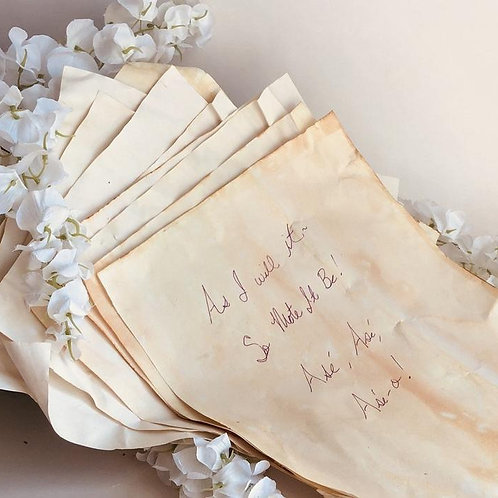 10 Page Sheaf of Parchment Paper for Prayers, Petitions & Poetry