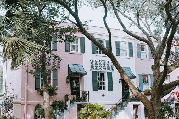 Pink historic homes in downtown Savannah, GA