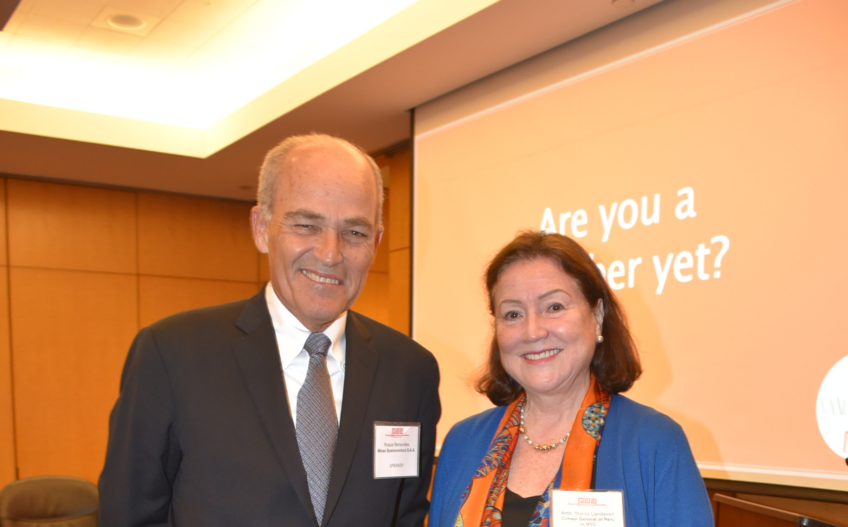 Roque Benavides and Amb. Marita Landaveri