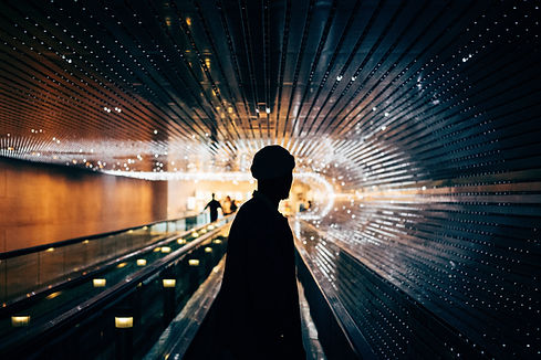 Schattenbild im U-Bahn-Tunnel