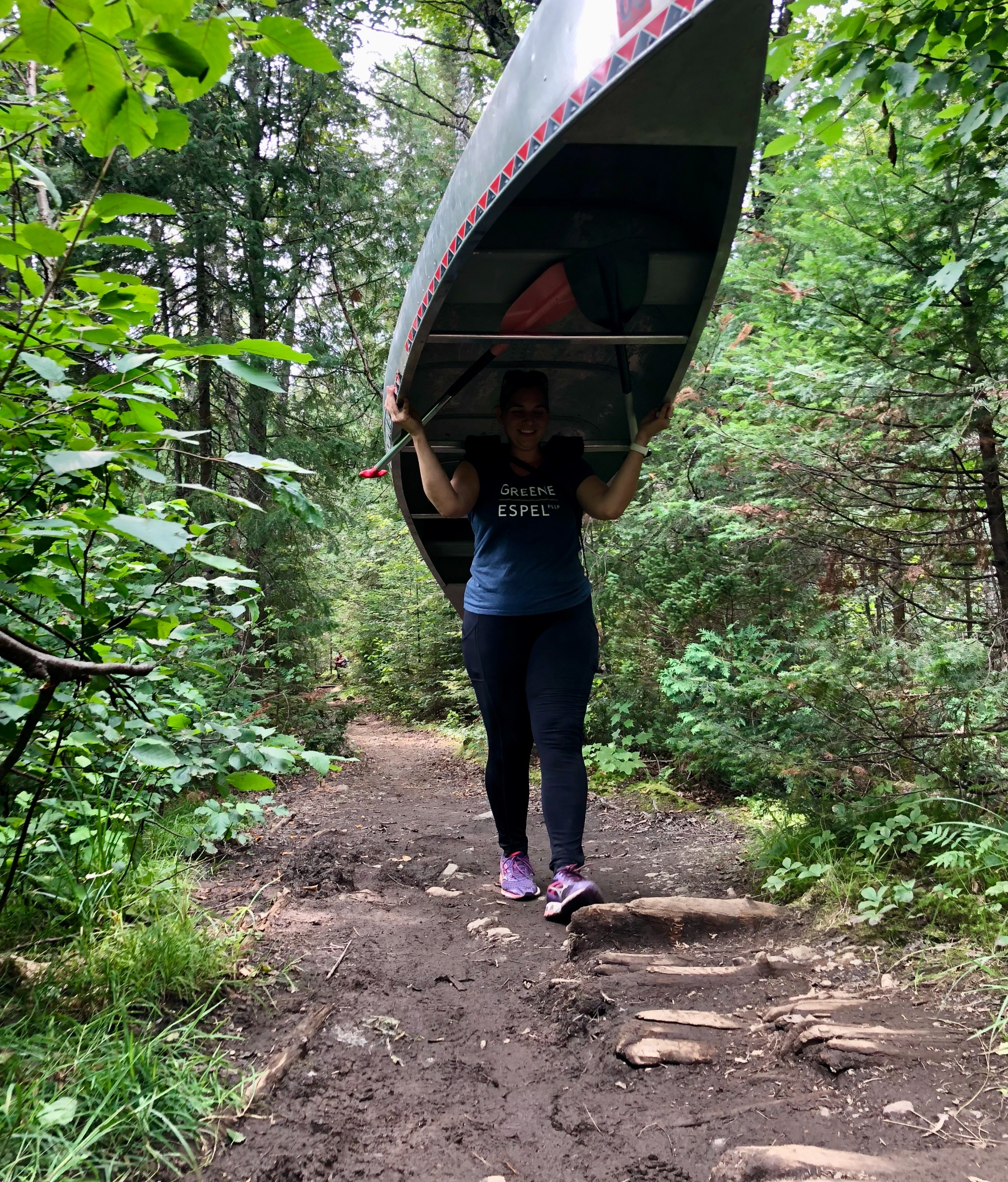 Solo canoe portage through the Boundary Waters